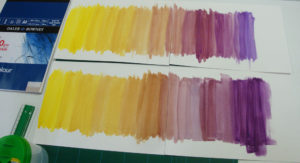 Colour chart mixture for Yellow and Violet.