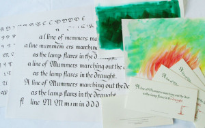 Calligraphy and background elements with final Card