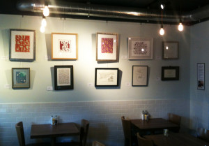 Calligraphy exhibition in the Coffee Seeker Cafe.