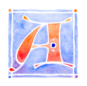 Lombardic initial A in watercolour